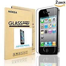 [2 PACK] iPhone 4S Screen Protector, NOKEA [9H Hardness] [Crystal Clear] [Easy Bubble-Free Installation] [Scratch Resist] for iPhone 4S Tempered Glass Screen Protector