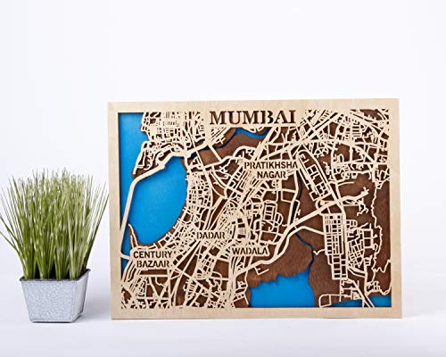 Mumbai Wooden Map Xmas Gift for Girl Small Scale Map Gift 3D Wooden City Map India Wall Art Mumbai Wooden Decor Birthday Gift for Man City Wooden Map Mumbai 3D ()