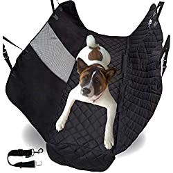 Pet Car Seat Cover For Dogs with View Window Net and Seat Belt Happy Pets by ZPAW | Pet Cover for Car Back Seat Dog Cover Pet Car Seat Protector Black Dogs Seat Cover