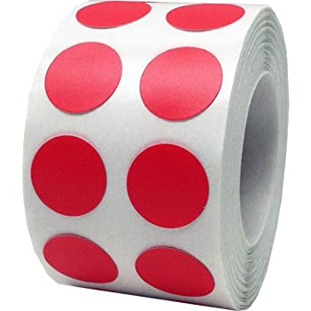 Color Coding Labels Red Round Circle Dots For Organizing Inventory 1/2 Inch 1,000 Total Adhesive Stickers