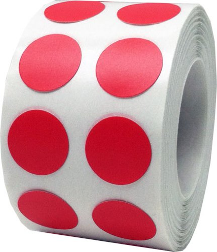Color Coding Labels Red Round Circle Dots For Organizing Inventory 1/2 Inch 1,000 Total Adhesive - Color Circle