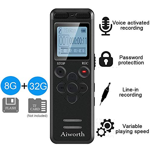 Digital Voice Activated Recorder for Lectures - Aiworth 580 Hours Sound Audio Recorder Dictaphone Voice Activated Recorder Recording Device with Playback,MP3 Player,Password,Variable Speed