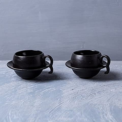 Indian Style Tea And Coffee Serving Cup Sets Dinnerware Teacups Home Dinning Decor Black Set of 2
