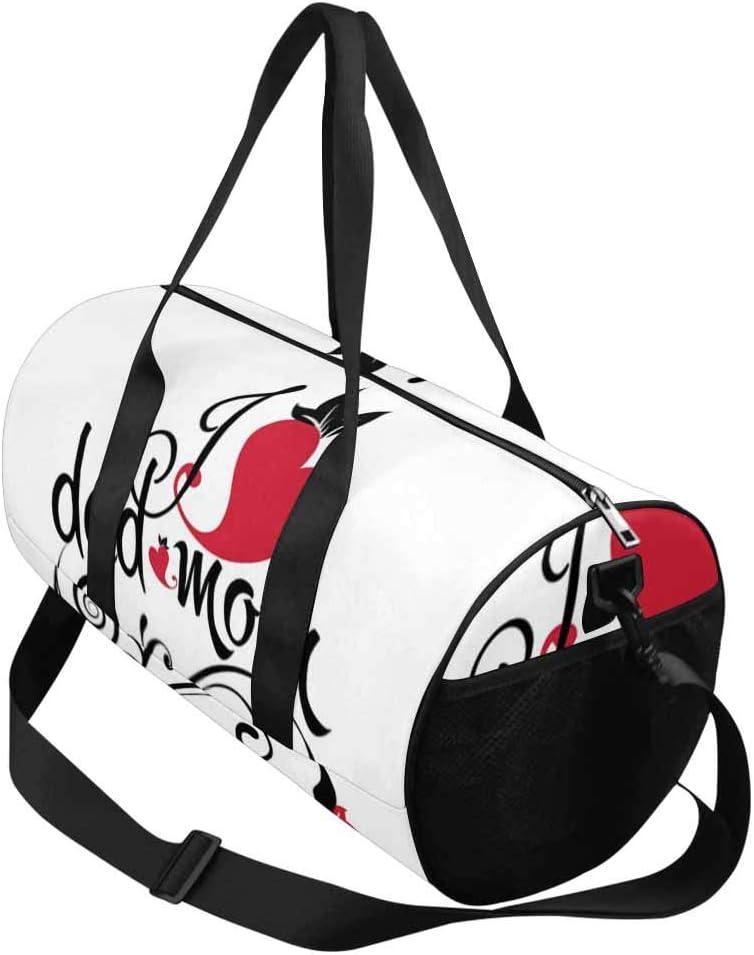 INTERESTPRINT I Love Dad and Mom Weekend Bag Travel Duffel Bag
