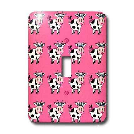 3dRose LLC lsp_6097_1 Happy Cow Girl Pink Print Single Toggle Switch