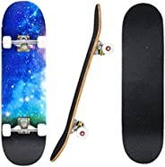 """31""""x8"""" Complete Skateboard, 7 Layers Maple Deck with ABEC-7 Bearings Skate Board, Good for Beginner,"""