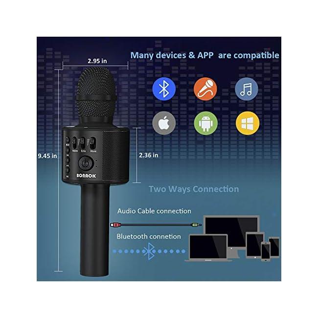 BONAOK - Micrófono de karaoke inalámbrico con Bluetooth, 3 en 1, micrófono de karaoke de mano portátil, regalo de Acción de Gracias, fiesta en casa, cumpleaños, altavoz, máquina para iPhone / Android / iPad / Sony, PC y todos los teléfonos inteligentes (negro)