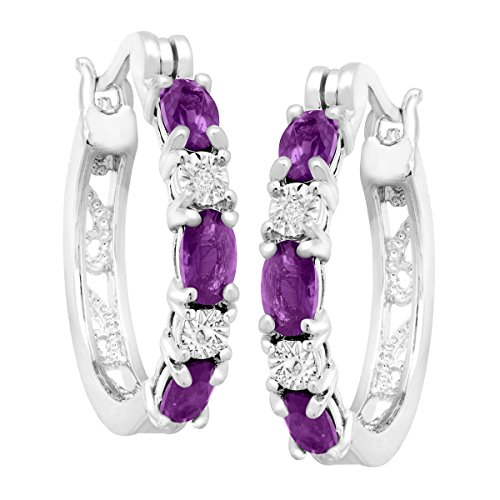 Platinum-Plated Brass 1 3 8 ct Natural Amethyst Hoop Earrings with Diamonds.875