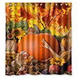 Autumn Leaves Happy Thanksgiving Day Pumpkin Sunflowers Bathroon Waterproof Cool Shower Curtain Family Choice 66'(w) x 72'(h)
