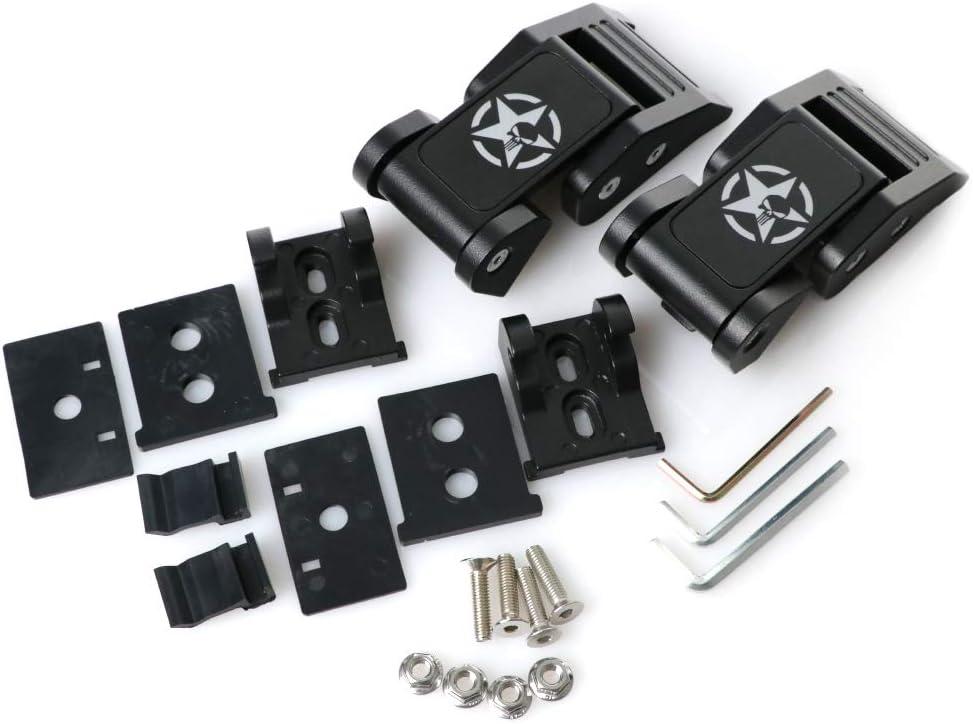 Black, 1 Pair REVi MotorWerks Punisher Skull Steel Metal Construct Hood Latch Hood Lock Catch No Drilling Easy Install for 2007-2018 Jeep Wrangler JK JKU Rubicon Sahara Sport