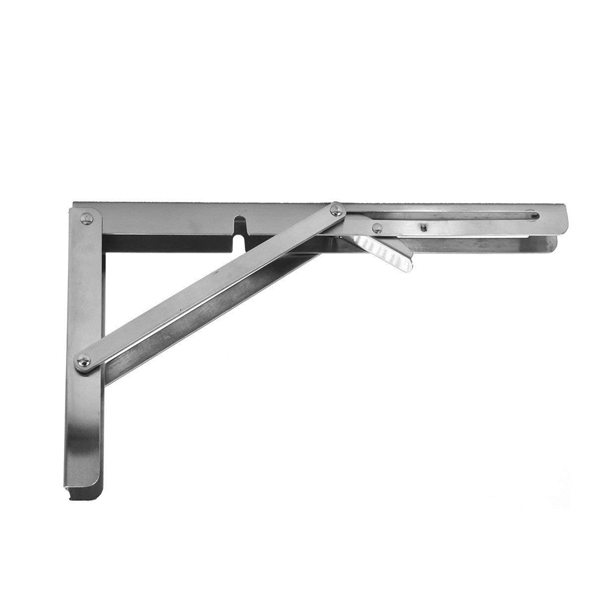 Heavy Duty Release Arm Folding Shelf Bench Table Stainless Steel Collapsible Bracket for Kitchen Park Patio Office Washroom, 12 inch Max Loading: 551LB / 250KG FST