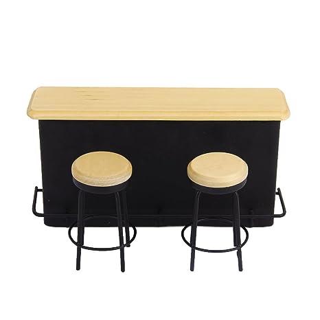 Toogoo R 1 12 Table De Meuble Miniatures Et 2 Chaises Amazon Fr