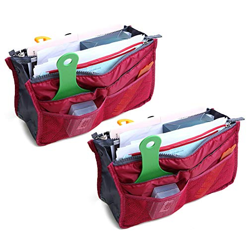 2 Pack Magik Travel Insert Handbag Purse Large Liner Organizer Tidy Bags Expandable 13 Pocket Handbag Insert Purse Organizer with Handles (Burgundy) (Best Purse Organizer Reviews)