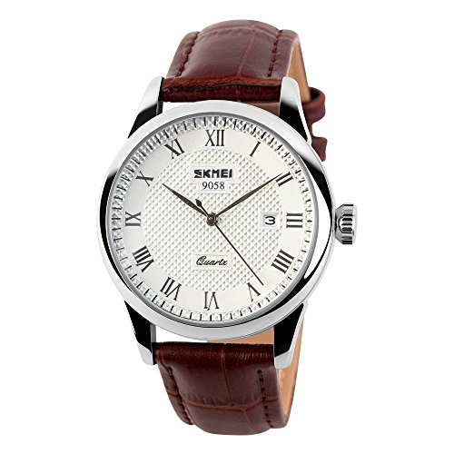 VBBARC Casual Classic Quartz Analog Wrist Business Watch With 40mm Case Brown Leather Band (Silver)