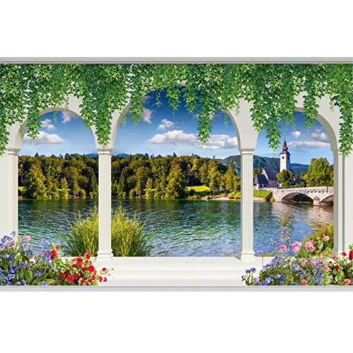 3D Murals Stickers Decorations Wallpaper Wall Roman Column Colonnade Lake Landscape Living Room Art Girls Bedroom ()