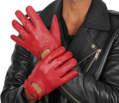 Full Fingers Red Driving Gloves - Mens Genuine Leather Button Gloves (XXL)