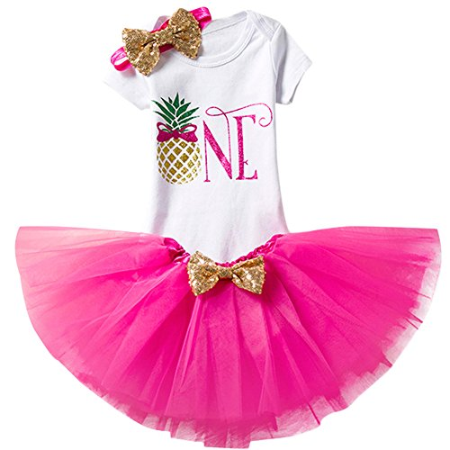 (Baby Girl First Birthday Outfit Bodysuit Tutu Skirt Headband 3PCS Set Princess Party Casual Fancy Playwear Holiday Pineapple Hot Pink)