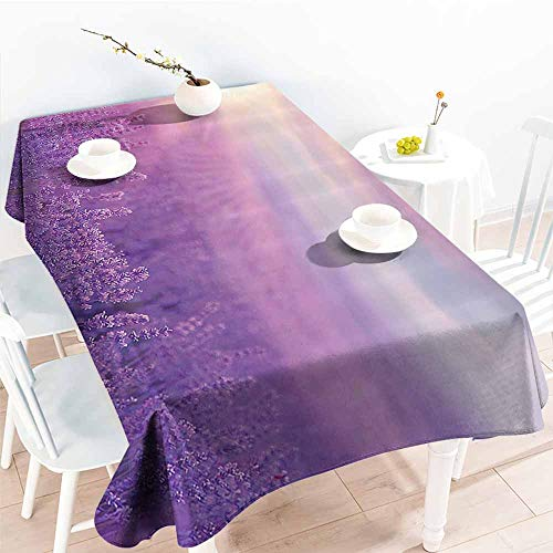 Restaurant Tablecloth Nature Decor Sunset Horizon Over Lavender Field in French Provence Floral Rural Picture Image Violet Excellent Durability W50 xL80