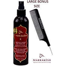 Marrakesh X Leave-In Treatment & Detangler (ORIGINAL SCENT) with Argan & Hemp Oil Therapy Spray Conditioner by Earthly Body (with Sleek Steel Pin Tail Comb) (Original - 8 oz/LARGE BONUS)