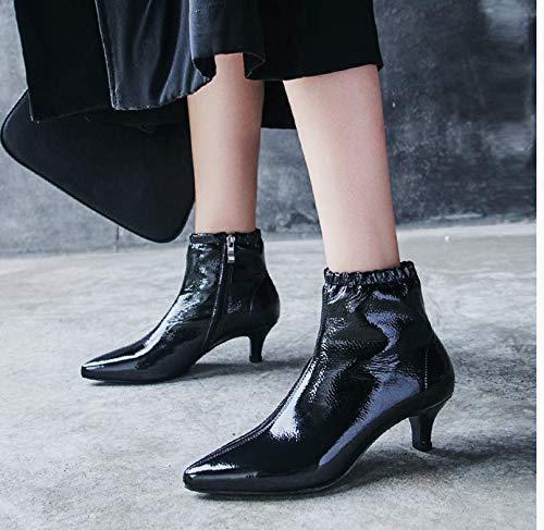 TSNMNB Botas de tacón Puntiagudas Zapatos de tacón de Aguja de Mujer Botas de tacón Alto de Moda Europea con Botas de Moda de Inglaterra Negro y terciopelo