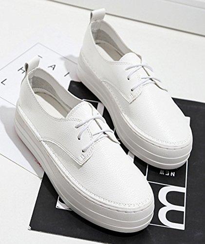 Blanc Lacets Rond Mode Plateforme Baskets Bout Femme Aisun À xv8qURxn
