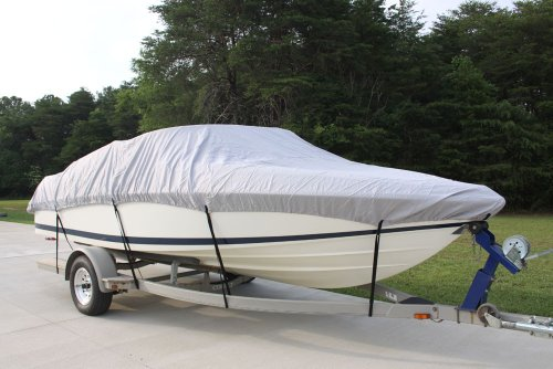 NEW VORTEX 5 YEAR CANVAS HEAVY DUTY GREY/GRAY VHULL FISH SKI RUNABOUT COVER FOR 26 to 27 to 28' FT BOAT, IDEAL FOR 108