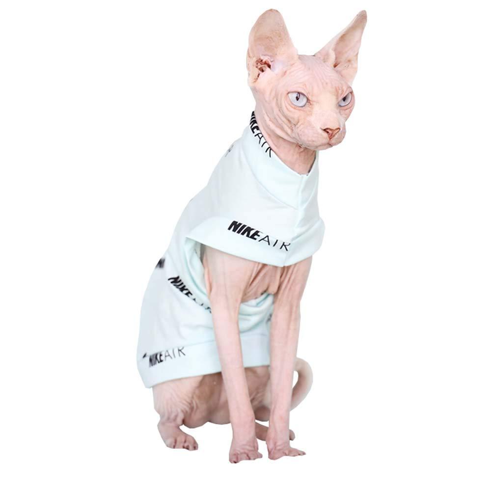 Khemn Luxury 丨HANDMADE 丨100% Cotton Light Blue Cat Shirt Cat Clothes-Best for Hairless Cat (M) by Khemn