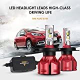 Auxbeam LED Headlights W Series H4 9003 HB2 P43T Led Headlight Bulbs with 2 Pcs of Headlight Conversion Kits Super Bright SMD LED Chips - 70W 7000lm - 2 Year Warranty