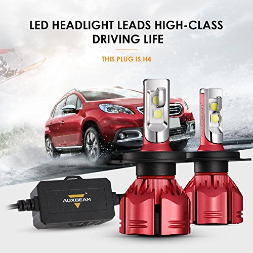 Auxbeam LED Headlights W Series H4 9003 HB2 P43T Led Headlight Bulbs with 2 Pcs of Headlight Conversion Kits Super Bright SMD LED Chips - 70W 7000lm - 1 Year Warranty