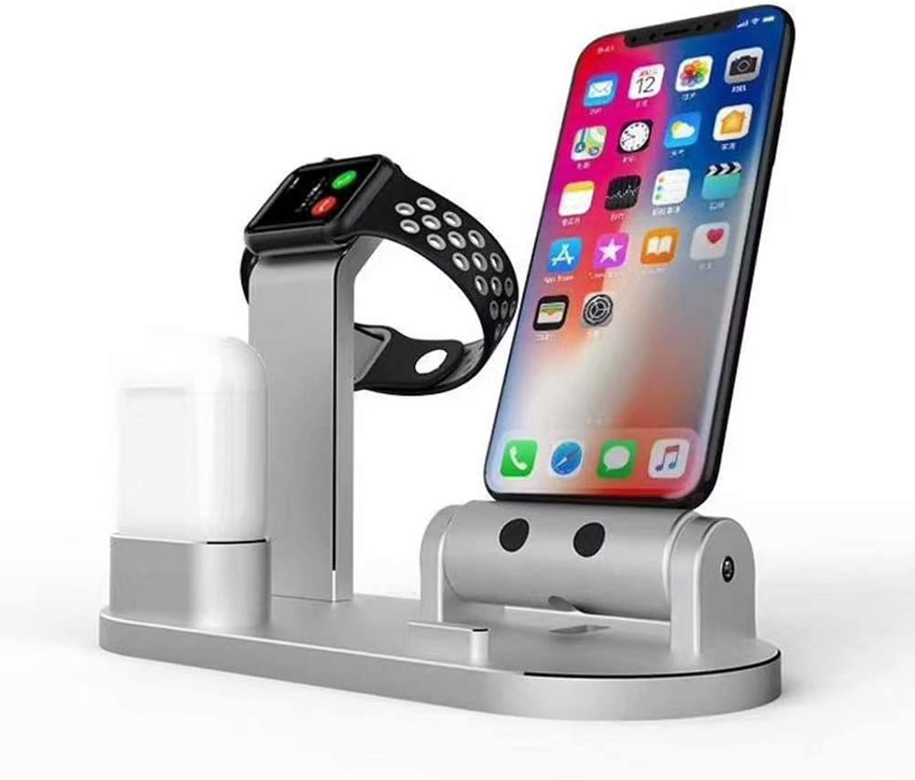 Silver 3-in-1 Charging Base Stand Aluminium Alloy Charging Rack Holder for iWatch