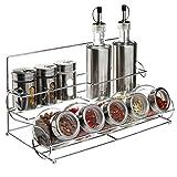 All-in-1 Stainless Steel Condiment Set With 2 Oil / Vinegar Bottle Cruets, 3 Shaker Spice Jars, 5 Glass Canister Jars & Chrome Rack
