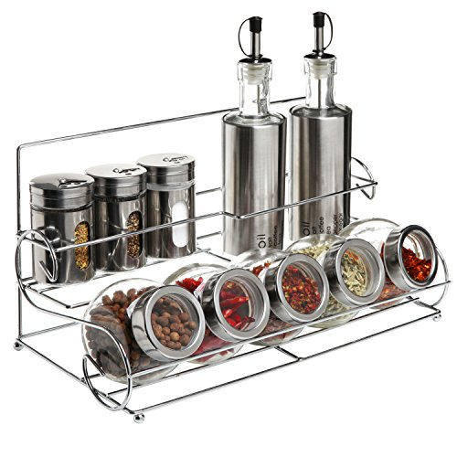 Stainless Steel Condiment Set with 2 Oil Cruets, 3 Spice Shakers, 5 Glass Canister Jars, and Chrome Rack (Condiment Steel Stainless Shakers)