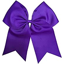 Kenz Laurenz Cheer Bows Purple Cheerleading Softball - Gifts for Girls and Women Team Bow with Ponytail Holder Complete your Cheerleader Outfit Uniform Strong Hair Ties Bands Elastics