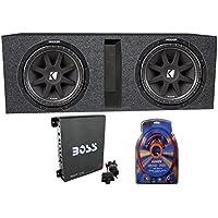 2) Kicker 43C104 10 600 Watt Car Subwoofers + Box + 1100W Amplifier + Wire Kit