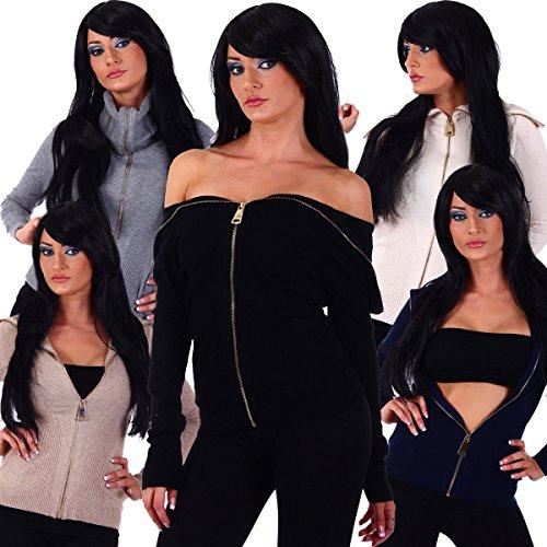 Fashion4Young - Gilet - Taille empire - Femme bleu Schwarz 36 -  marron - 38