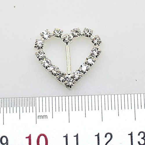 (30pcs 20mm x 18mm Heart Shaped Rhinestone Buckle Slider for Wedding Invitation Letter)