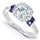 1-35ct-TW-Moissanite-Diamond-and-Sapphire-Engagement-Ring-in-14k-White-Gold-Size-8