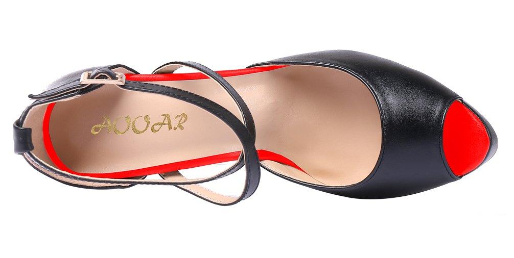 AOOAR Women's Criss Cross Ankle Strap Spike Heels with Platform Black PU Party Pumps 5 M US B0772R9LX8 12 US / 44 EU Women|Black-red Pu