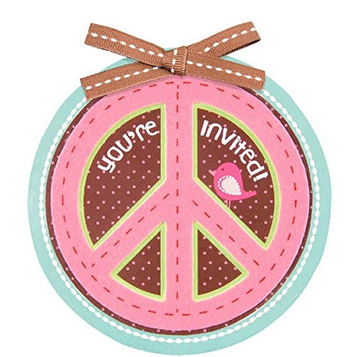 (Amscan Peace & Love Large Party Invitation Card (8 Piece), Multicolor, 4 3/4