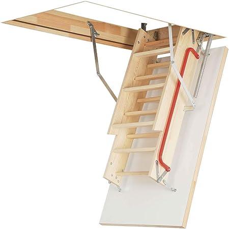 Madera de madera plegable Optistep escalera para desván ático o escaleras. Marco W60 cm x L120cm H hasta 280 cm y aislada trampilla: Amazon.es: Hogar