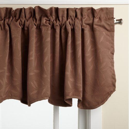 LORRAINE HOME FASHIONS Whitfield 52-inch by 18-inch Scalloped Valance, Chocolate