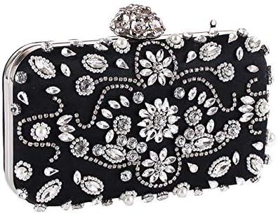 女性のビーズ入りハードシェルイブニングバッグドレスバッグスモールスクエアバッグクラッチバッグ、19 * 9 * 5 Cm、(色:黒) 美しいファッション (Color : Black)