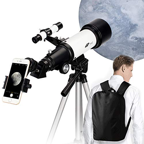 Telescope for Kids Beginners 70mm Aperture Refracting Telescope Adjustable Portable Travel Telescopes with Backpack Phone Mount