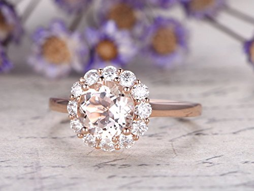 7mm Round Cut 1.2ctw VS Natural Pink Morganite Solid 14k Rose Gold Charles & Colvard Moissanite Floral Halo Engagement Ring Bridal Wedding Band Promise Proposal Retro