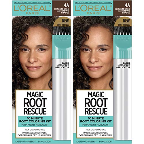 L'Oreal Paris Magic Root Rescue 10 Minute Root Hair Coloring Kit, Permanent Hair Color with Quick Precision Applicator, 100% Gray Coverage, 4A Dark Ash Brown, 2 count