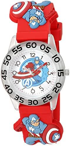 Marvel Boy's 'Captain America' Quartz Plastic and Silicone Casual Watch, Color:Red (Model: WMA000040)