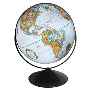 Replogle Eureka 16 inch Desktop Globe with up to Date Blue Ocean Raised Relief map and Full Swing gyromatic Assembly