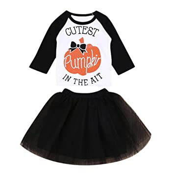 53216e824bc2 Amazon.com  Infant Baby Girls Long Sleeves Pumpkin Print Tops+Tutu Skirt  Halloween Clothes Outfits Set (18-24 Months
