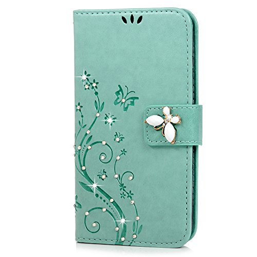 Price comparison product image S5 Case,Samsung Galaxy S5 Case - Mavis's Diary 3D Handmade Wallet Bling Crystal Diamonds Butterfly Fashion Floral PU Leather with Hand Strap Magnetic Clasp Card Holders