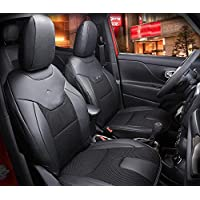 Nicebee 2pcs Front Seat Cover + 1pcs Back Seat Cover + 2pcs waist pillows + 2pcs neck pillows Leather Car Seat Cover for Jeep Renegade 2015 UP(Black)